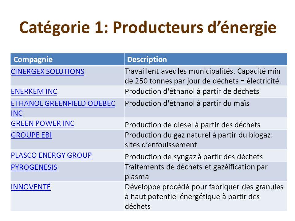 Catégorie 1: Producteurs d'énergie