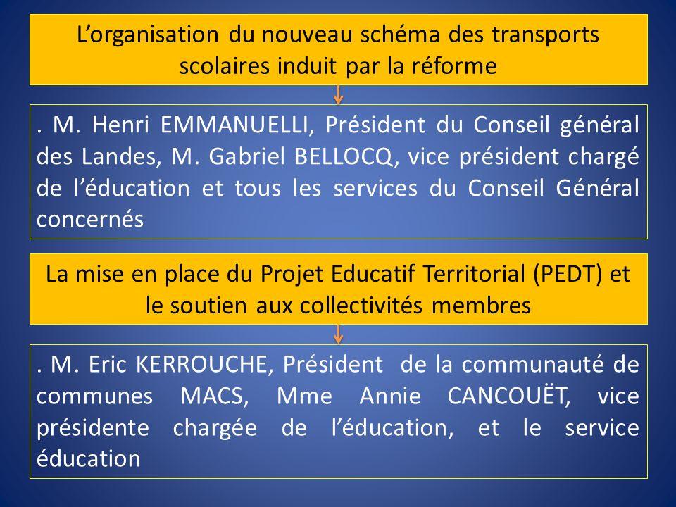 L'organisation du nouveau schéma des transports scolaires induit par la réforme
