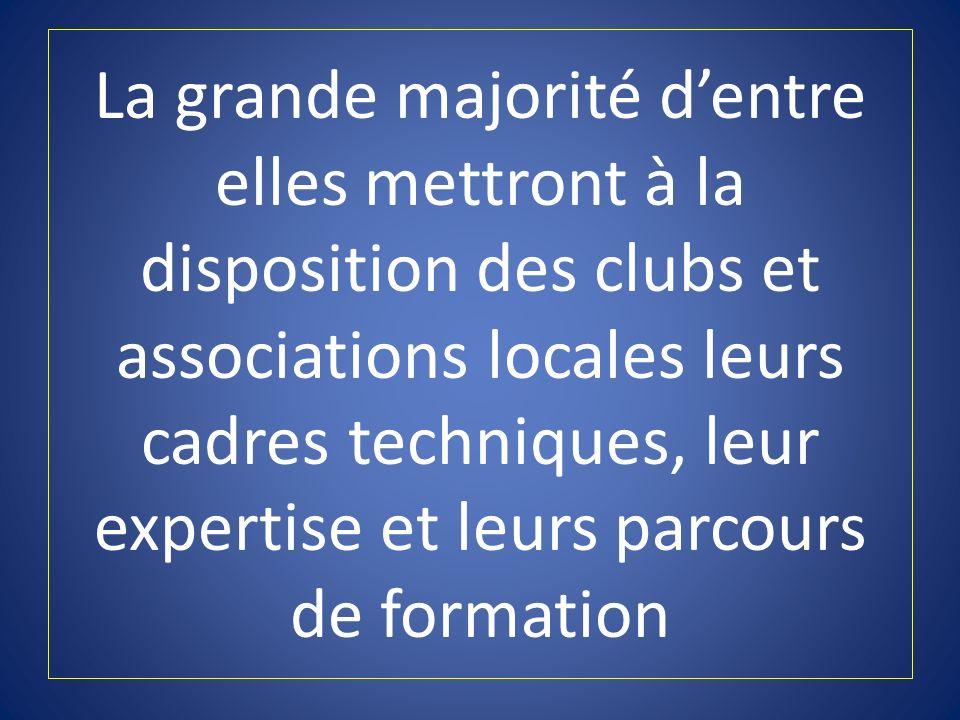 La grande majorité d'entre elles mettront à la disposition des clubs et associations locales leurs cadres techniques, leur expertise et leurs parcours de formation