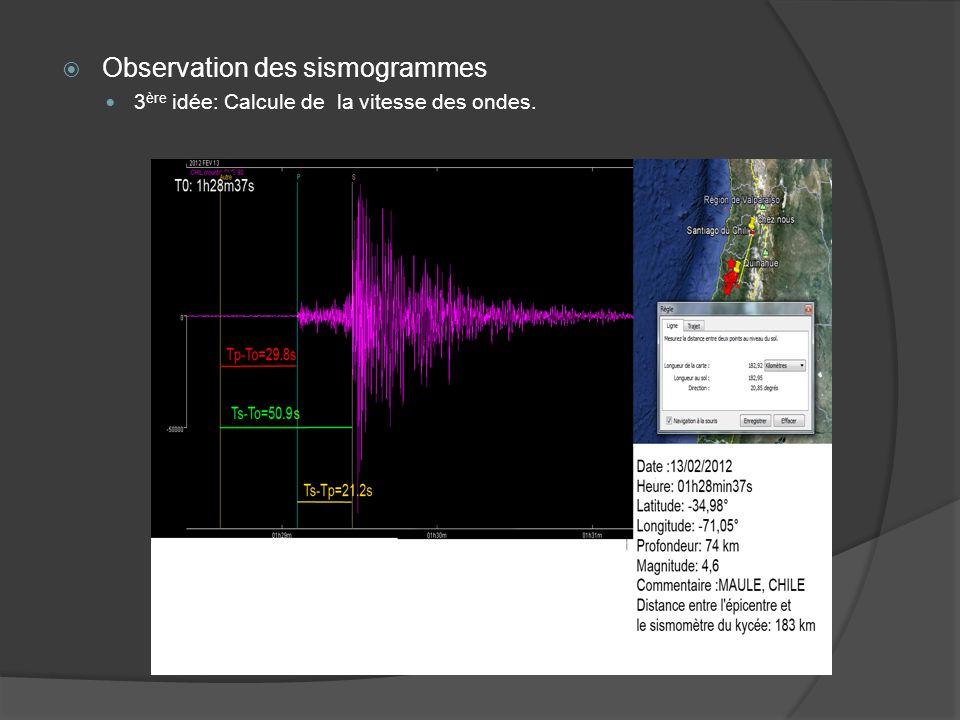 Observation des sismogrammes