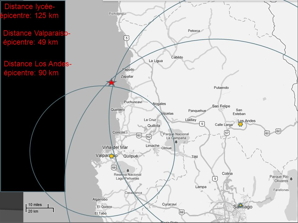 Distance lycée- épicentre: 125 km. Distance Valparaiso- épicentre: 49 km.