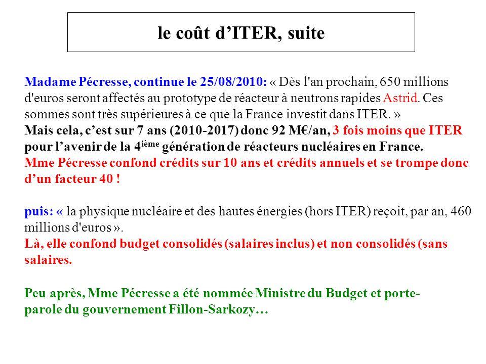 le coût d'ITER, suite