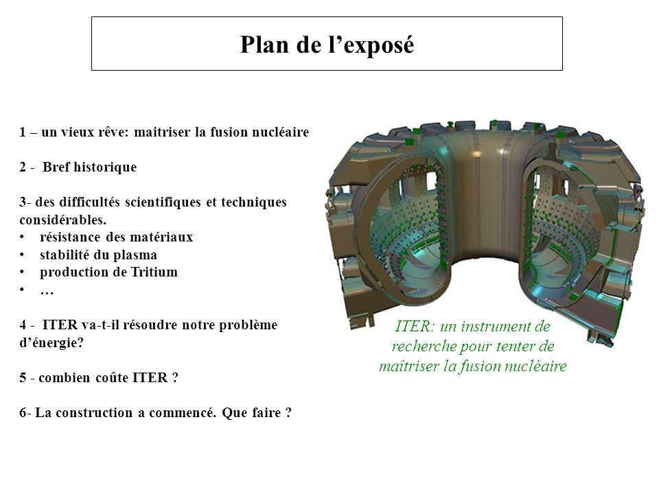 Plan de l'exposé 1 – un vieux rêve: maitriser la fusion nucléaire. 2 - Bref historique.