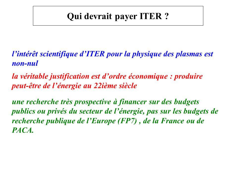 Qui devrait payer ITER l'intérêt scientifique d'ITER pour la physique des plasmas est non-nul.
