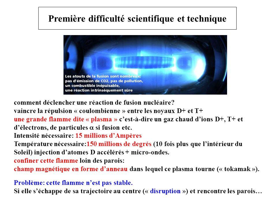 Première difficulté scientifique et technique