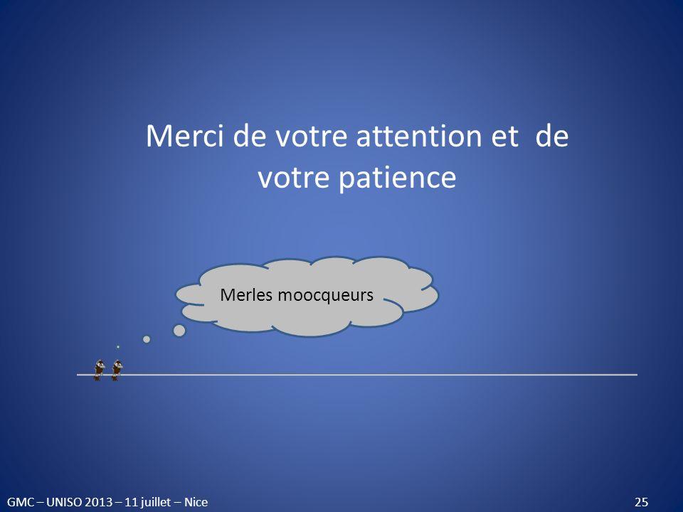 Merci de votre attention et de votre patience