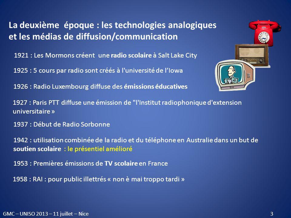 La deuxième époque : les technologies analogiques et les médias de diffusion/communication