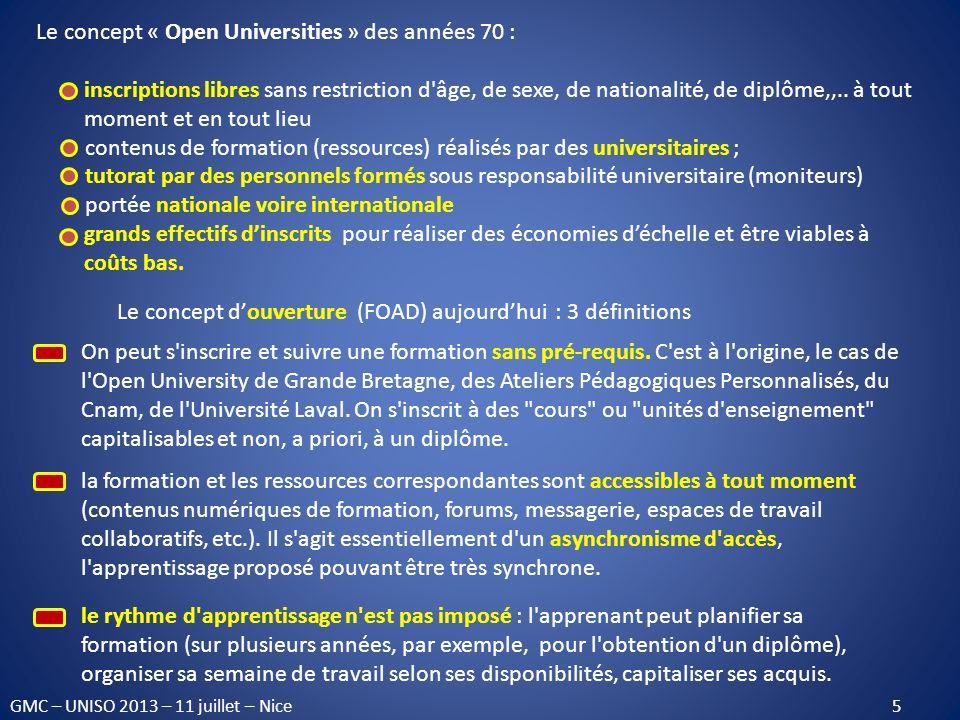Le concept « Open Universities » des années 70 :