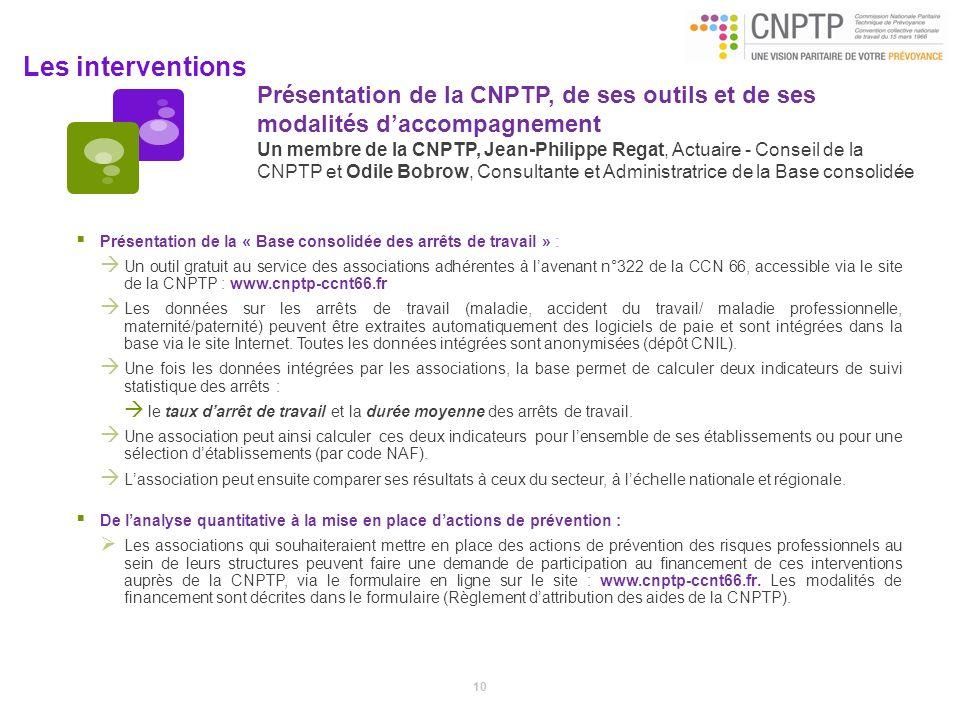 Présentation de la CNPTP, de ses outils et de ses modalités d'accompagnement Un membre de la CNPTP, Jean-Philippe Regat, Actuaire - Conseil de la CNPTP et Odile Bobrow, Consultante et Administratrice de la Base consolidée