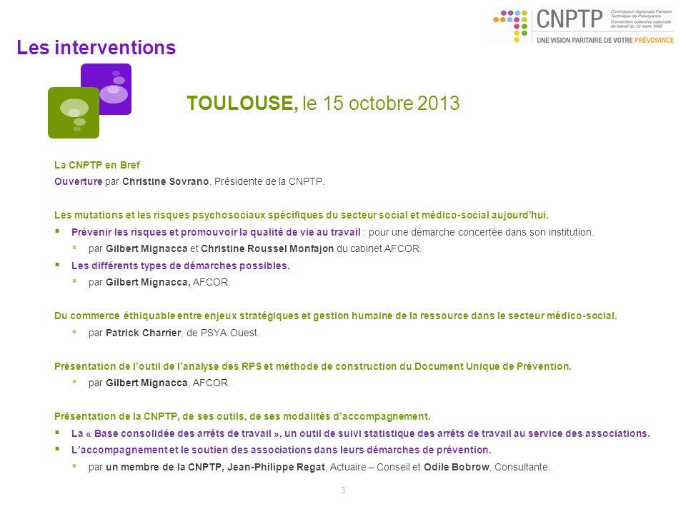 TOULOUSE, le 15 octobre 2013 La CNPTP en Bref