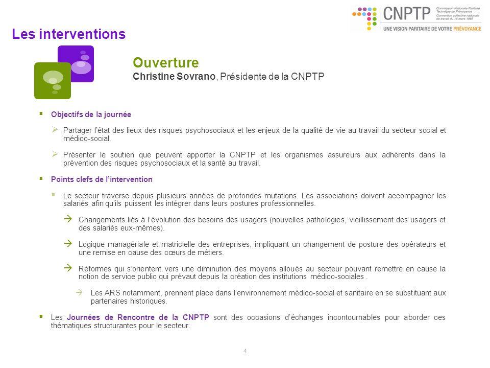 Ouverture Christine Sovrano, Présidente de la CNPTP