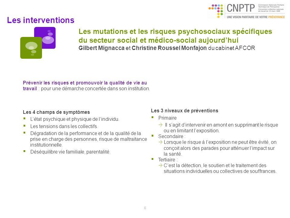 Les mutations et les risques psychosociaux spécifiques du secteur social et médico-social aujourd'hui Gilbert Mignacca et Christine Roussel Monfajon du cabinet AFCOR