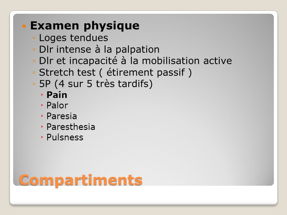 Compartiments Examen physique Loges tendues Dlr intense à la palpation