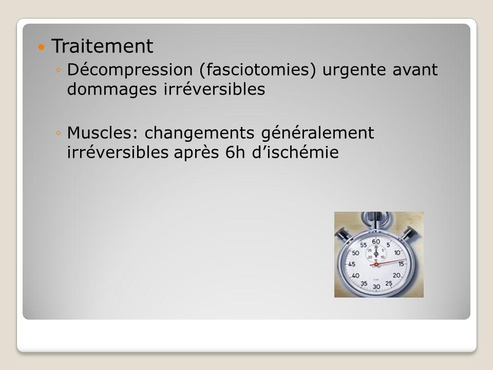 Traitement Décompression (fasciotomies) urgente avant dommages irréversibles.