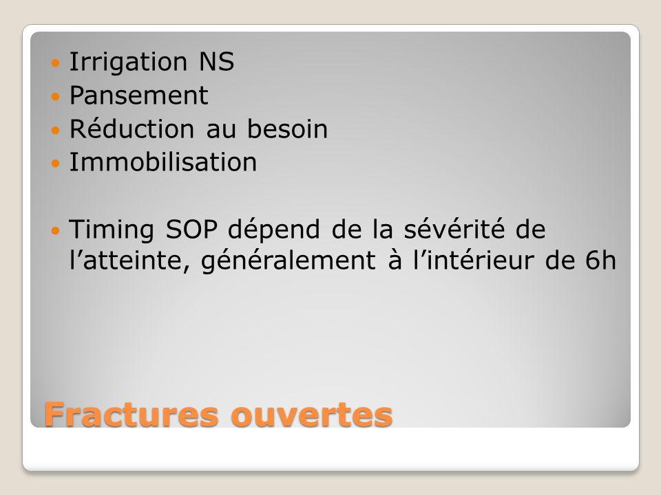 Fractures ouvertes Irrigation NS Pansement Réduction au besoin