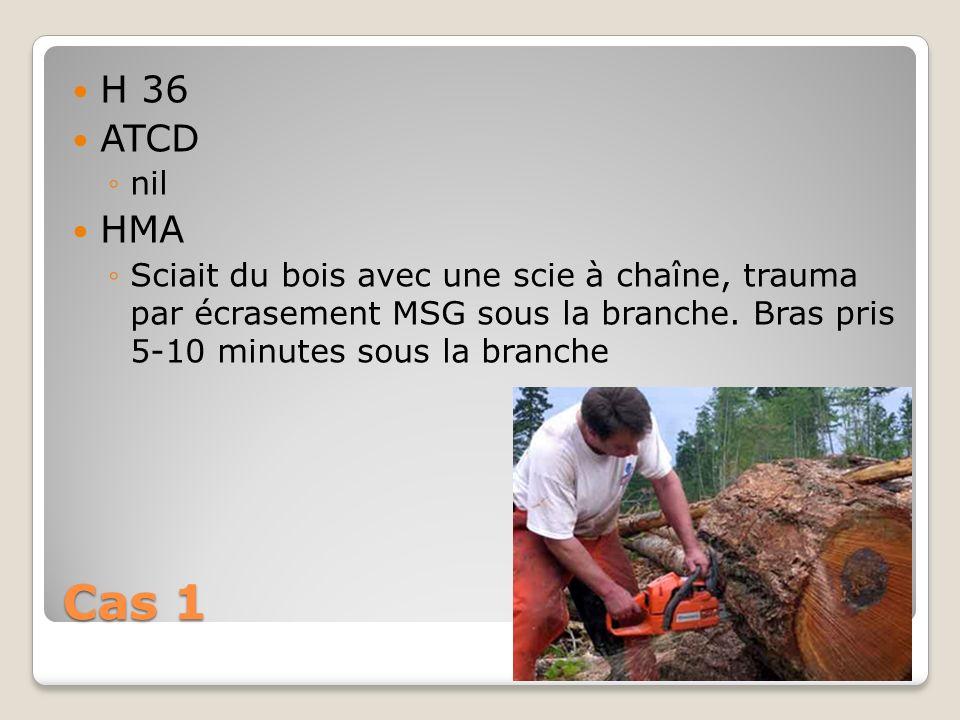 H 36 ATCD. nil. HMA. Sciait du bois avec une scie à chaîne, trauma par écrasement MSG sous la branche. Bras pris 5-10 minutes sous la branche.