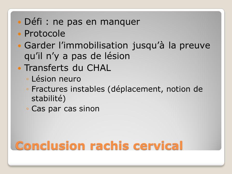 Conclusion rachis cervical