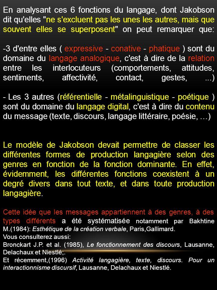 En analysant ces 6 fonctions du langage, dont Jakobson dit qu elles ne s excluent pas les unes les autres, mais que souvent elles se superposent on peut remarquer que: