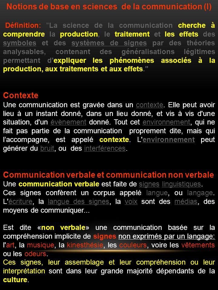 Notions de base en sciences de la communication (I)