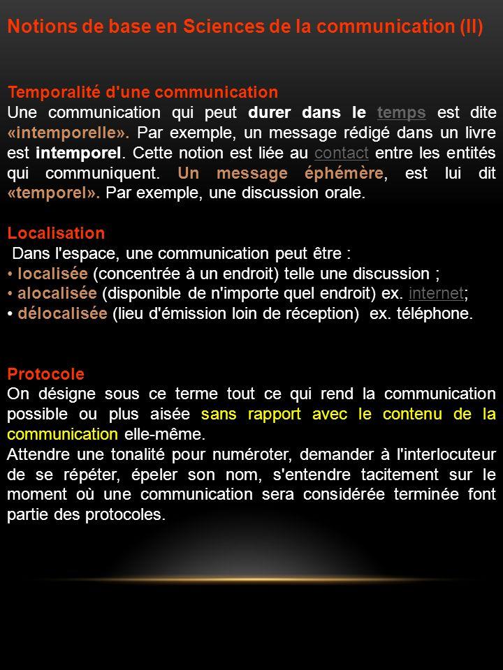 Notions de base en Sciences de la communication (II)