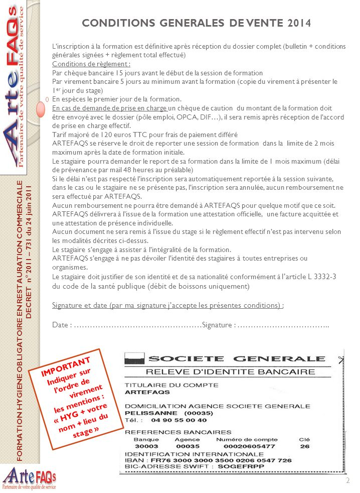 Bulletin d inscription formation 2014 hygiene alimentaire en restauration com - Report de paiement de 3 mois par cb ...