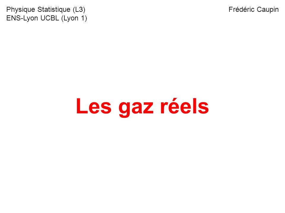 Les gaz réels Physique Statistique (L3) ENS-Lyon UCBL (Lyon 1)