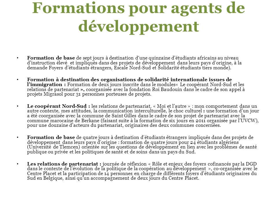 Formations pour agents de développement