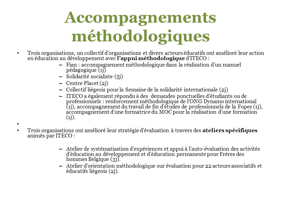 Accompagnements méthodologiques