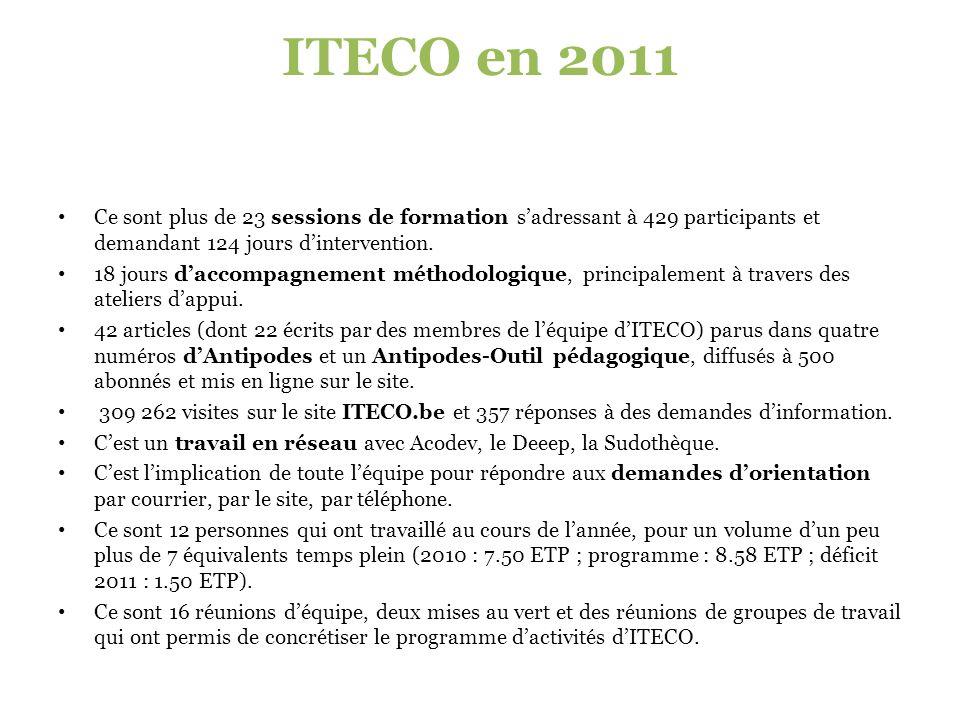 ITECO en 2011 Ce sont plus de 23 sessions de formation s'adressant à 429 participants et demandant 124 jours d'intervention.