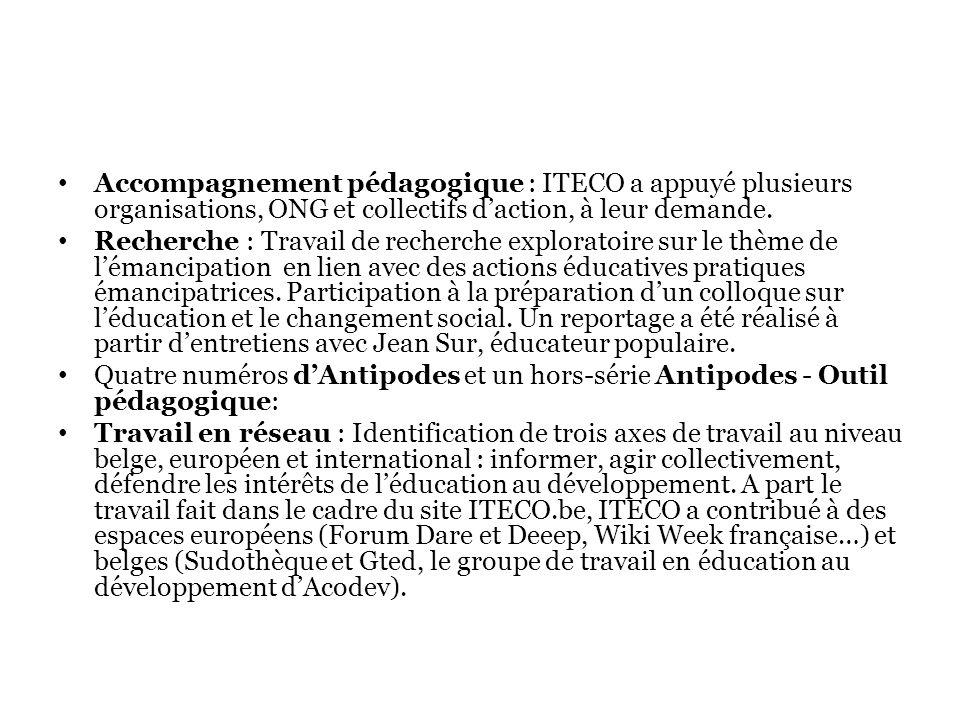 Accompagnement pédagogique : ITECO a appuyé plusieurs organisations, ONG et collectifs d'action, à leur demande.