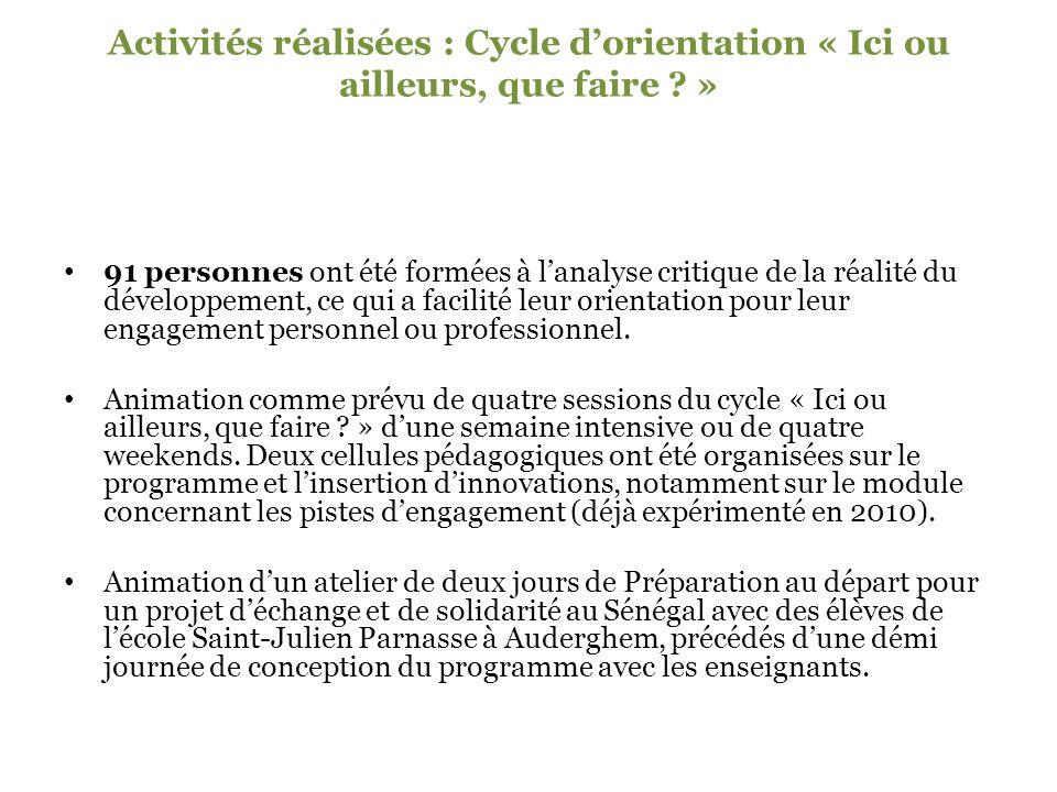 Activités réalisées : Cycle d'orientation « Ici ou ailleurs, que faire