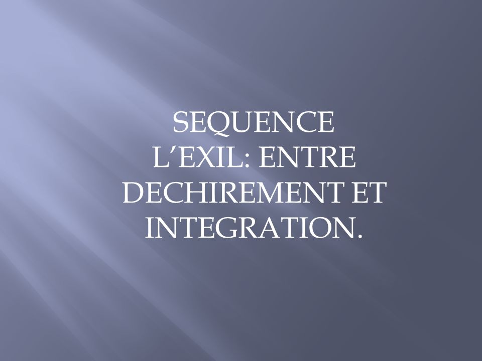 L'EXIL: ENTRE DECHIREMENT ET INTEGRATION.