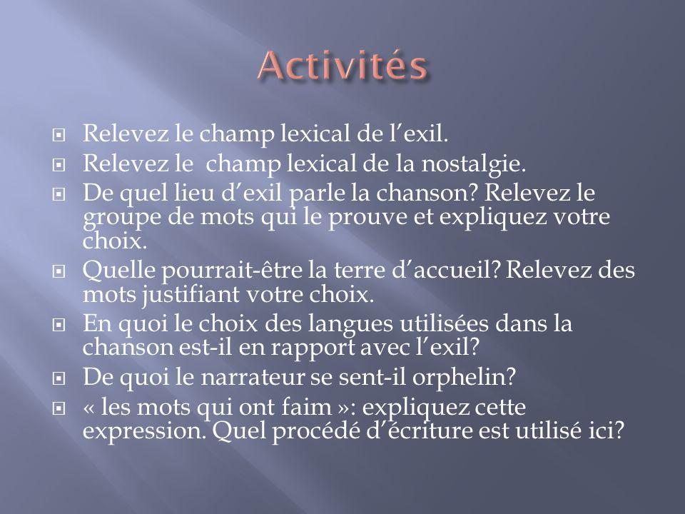Activités Relevez le champ lexical de l'exil.