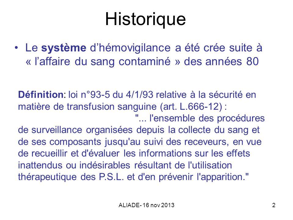 Historique Le système d'hémovigilance a été crée suite à « l'affaire du sang contaminé » des années 80.