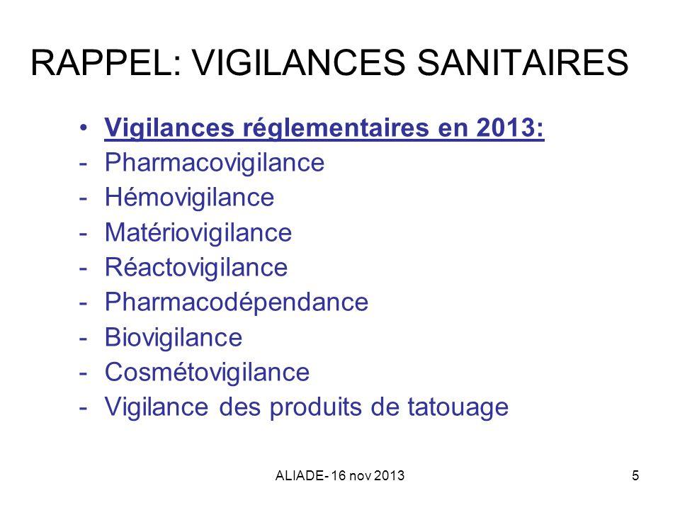 RAPPEL: VIGILANCES SANITAIRES