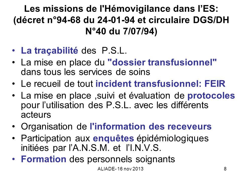 Le recueil de tout incident transfusionnel: FEIR