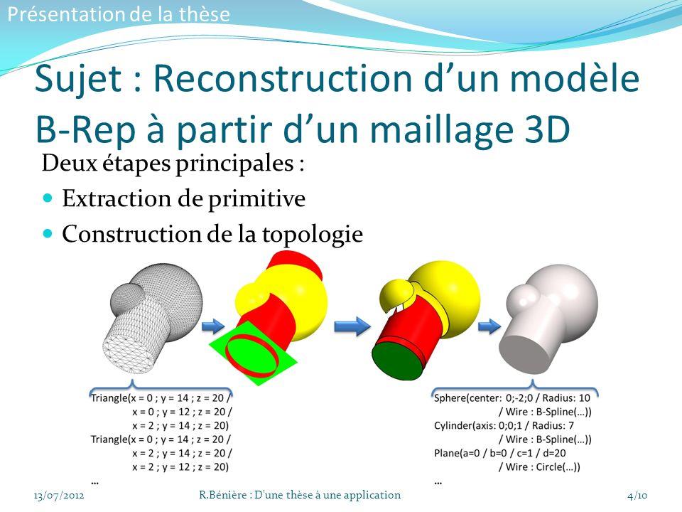 Sujet : Reconstruction d'un modèle B-Rep à partir d'un maillage 3D