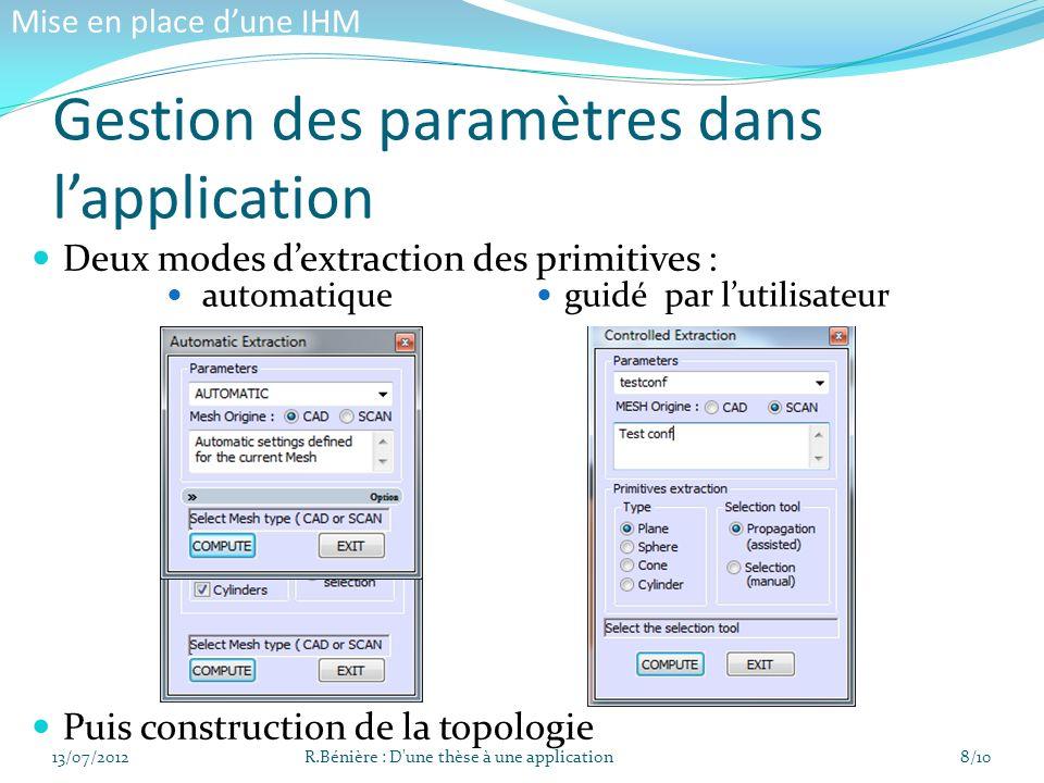 Gestion des paramètres dans l'application