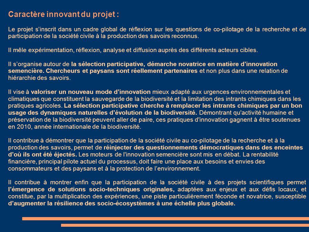 Caractère innovant du projet :