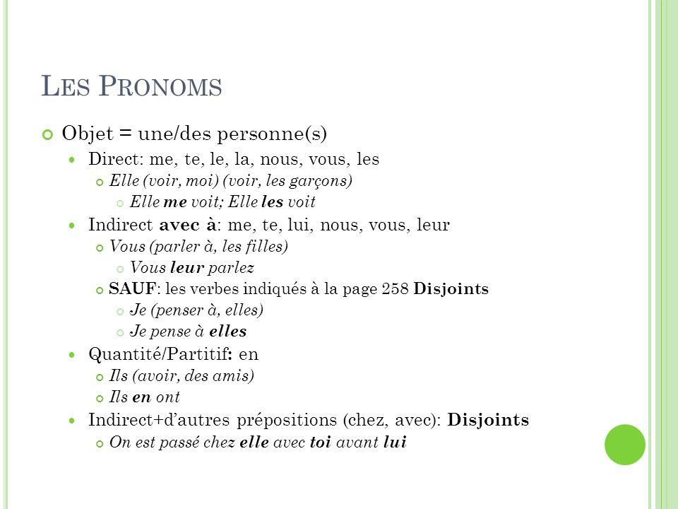 Les Pronoms Objet = une/des personne(s)