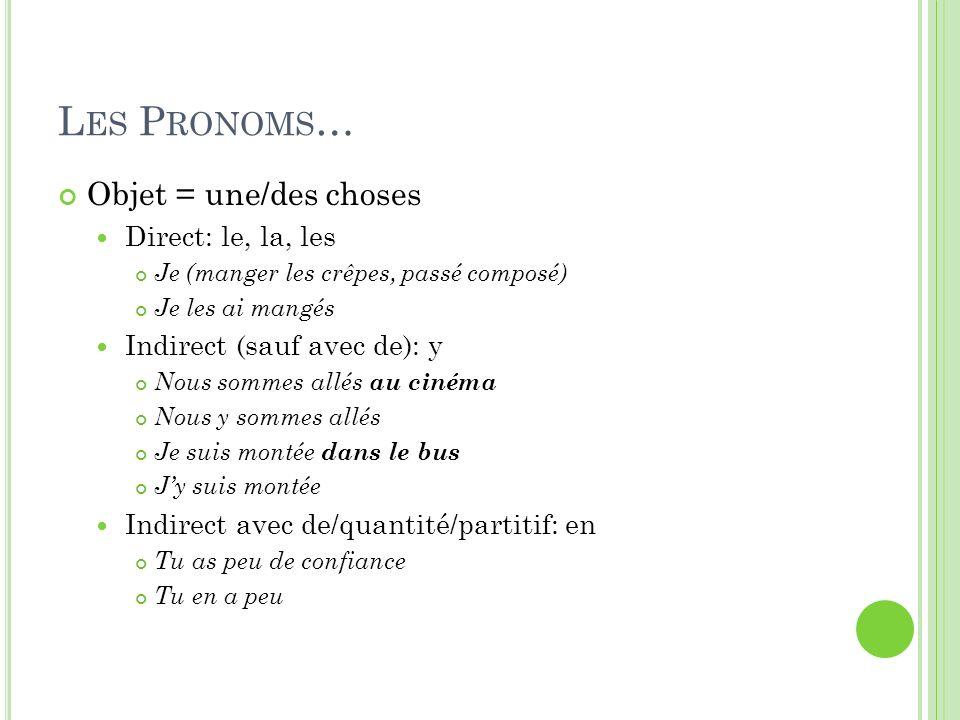 Les Pronoms… Objet = une/des choses Direct: le, la, les