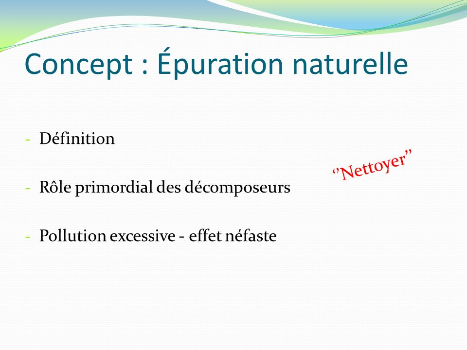 Concept : Épuration naturelle