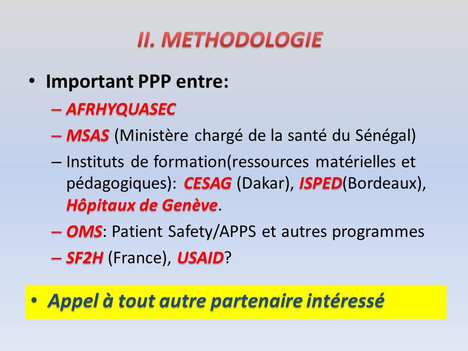 II. METHODOLOGIE Important PPP entre: