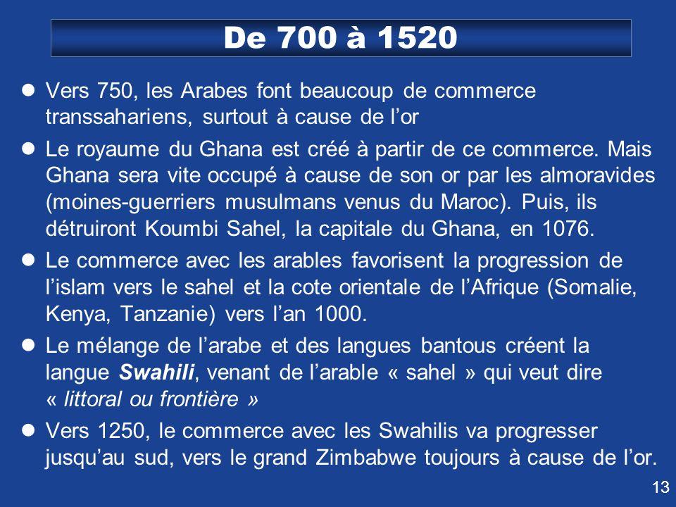 De 700 à 1520 Vers 750, les Arabes font beaucoup de commerce transsahariens, surtout à cause de l'or.