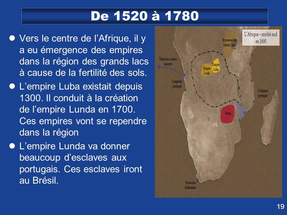 De 1520 à 1780 Vers le centre de l'Afrique, il y a eu émergence des empires dans la région des grands lacs à cause de la fertilité des sols.