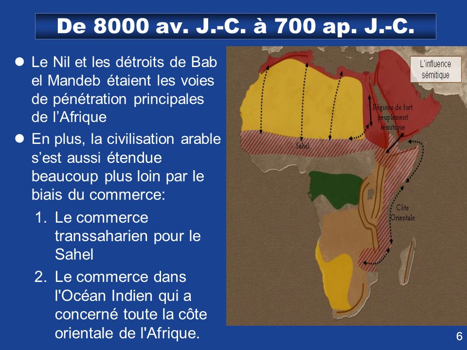 De 8000 av. J.-C. à 700 ap. J.-C. Le Nil et les détroits de Bab el Mandeb étaient les voies de pénétration principales de l'Afrique.