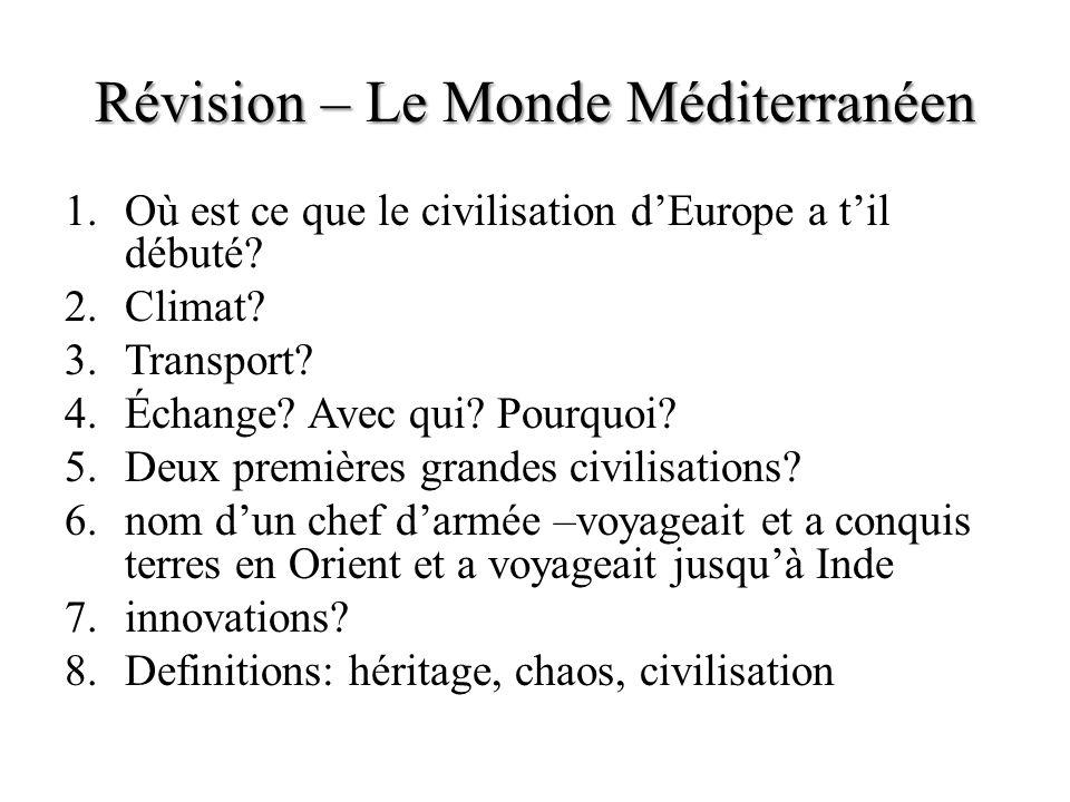 Révision – Le Monde Méditerranéen