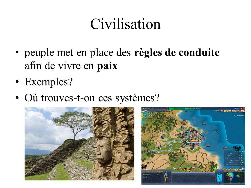 Civilisation peuple met en place des règles de conduite afin de vivre en paix.