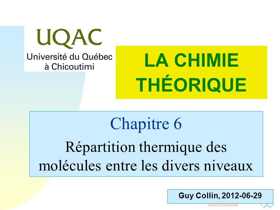 Répartition thermique des molécules entre les divers niveaux