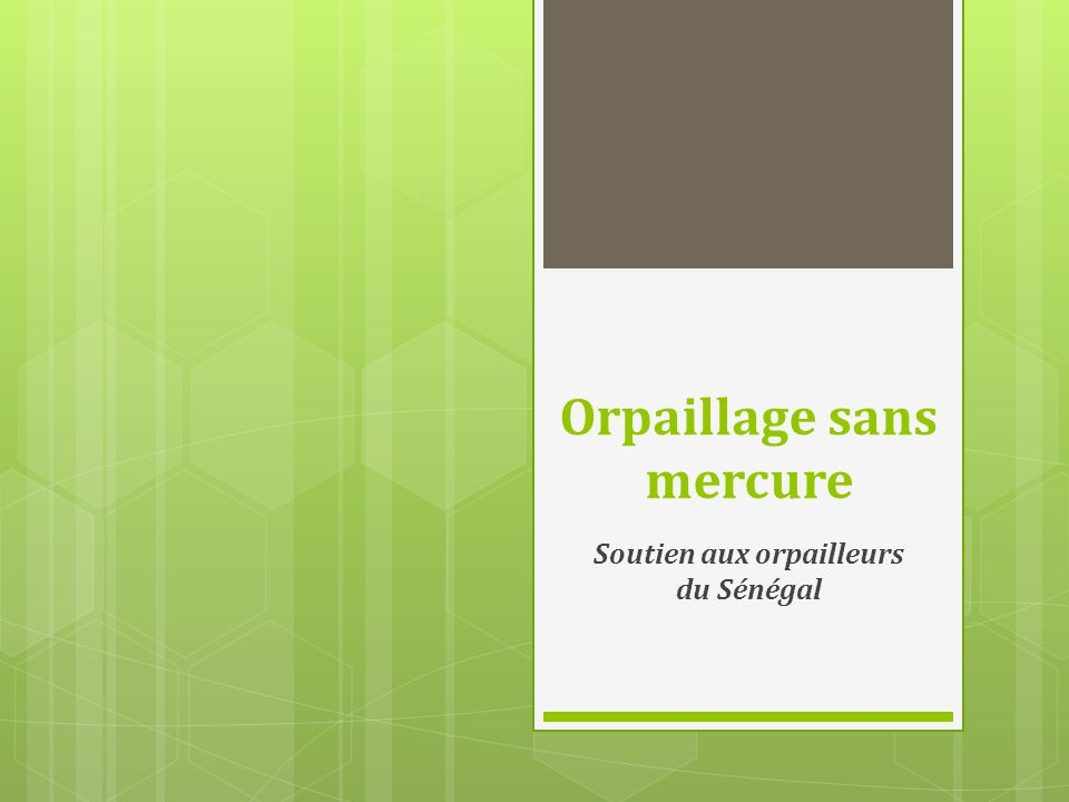 Orpaillage sans mercure